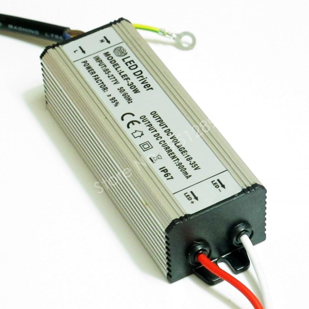 CE Certified IP67 30W 900mA Led Driver DC 18V - 35V Power Supply AC 110V 220V 277V for 10 series 3 parallel LED lights