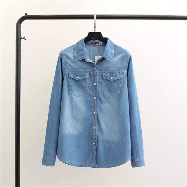 0da115fa8f372 2018 Spring Aautumn Women Denim Shirt Chemise Jean s Femme Jeans Blouse  Long Sleeve Plus Size Blusa Casual Tops Camisa Vetements