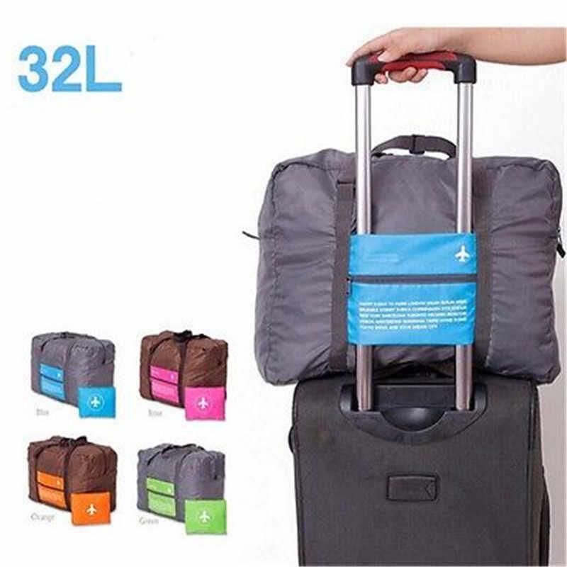 Duży 32L składany wózek podróżny na kółkach bagaż odzież walizka worek do przechowywania organizator wózek walizka pokrowiec torba duża torba na dla kobiet mężczyzn