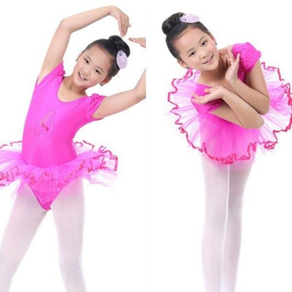 Ginástica leotards Dança Vestido Do Bebê Dos Miúdos Doce Cor Tutu Vestido da Dança Trajes Dancewear Ballet 3-7A