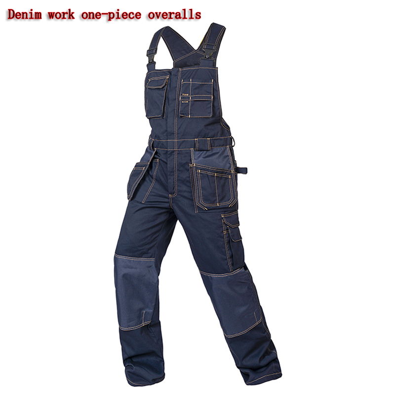 New Bib overalls men work coveralls multi functional pockets repairman strap jumpsuits pants wear resistance working uniforms