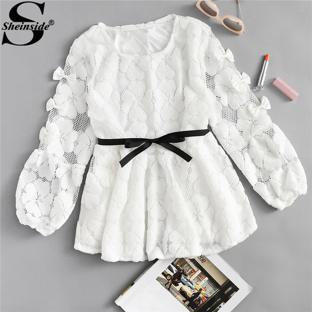 e8708728db8e Sheinside 2018 Spring Round Neck Long Sleeve Lace Blouse White Knot Bow  Detail Tie Waist Casual
