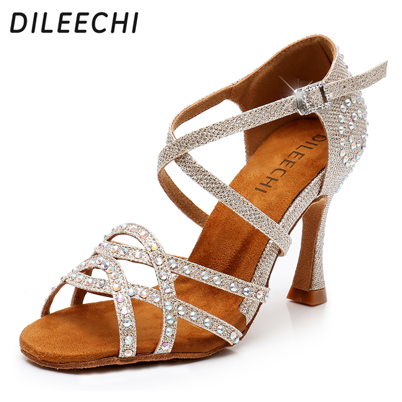 DILEECHI Latin Dance Shoes Women Rhinestone Salsa Glitter Ballroom Sandals Party Dancing Shoes Flare Heel 9cm gold silver