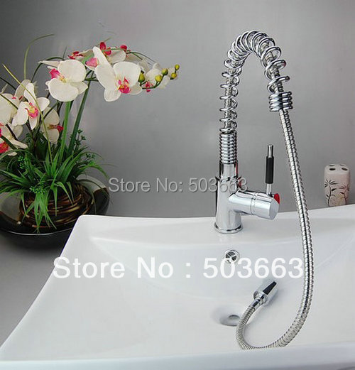 Wholesale Chrome 2 Sinks Swivel Kitchen Brass Faucet Basin Sink Pull Out Spray Mixer Tap S-724 Mixer Tap Faucet
