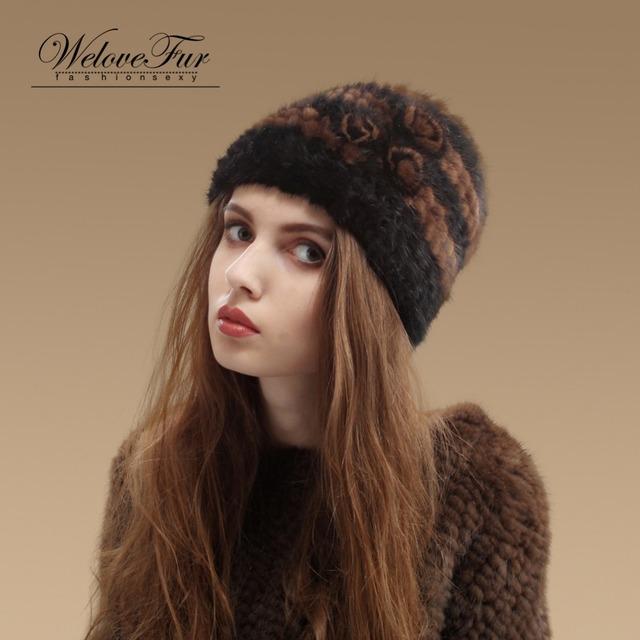 2016 Nueva Piel De Visón Auténtico Sombrero de piel de Visón de Moda de Las Mujeres Sombreros de Invierno Cálido Gorro de piel de Visón Natural