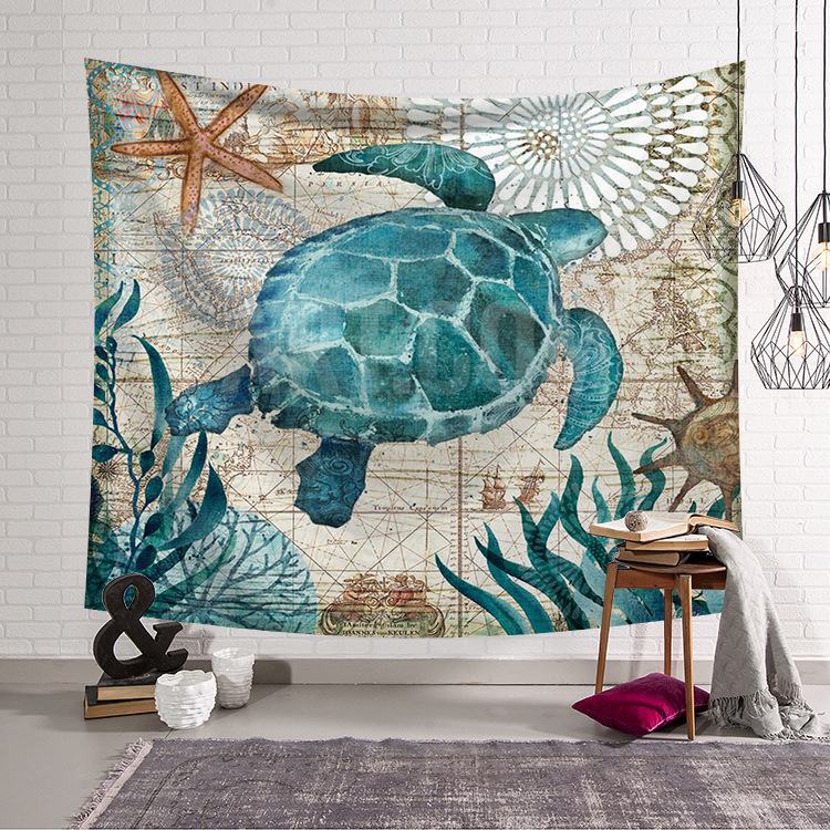 Marine Organism Wall Hanging Blanket Tapestry Beach Throw Towel Home Decorative Turtle Printed Supersoft Tapestries Beach Mat