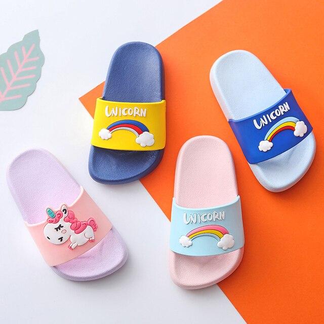 Unicorn Baby Boy Girl Cartoon Rainbow Slippers Children Summer Beach Water Flip Flops Indoor Home Shoes Kids Outdoor New Sandals