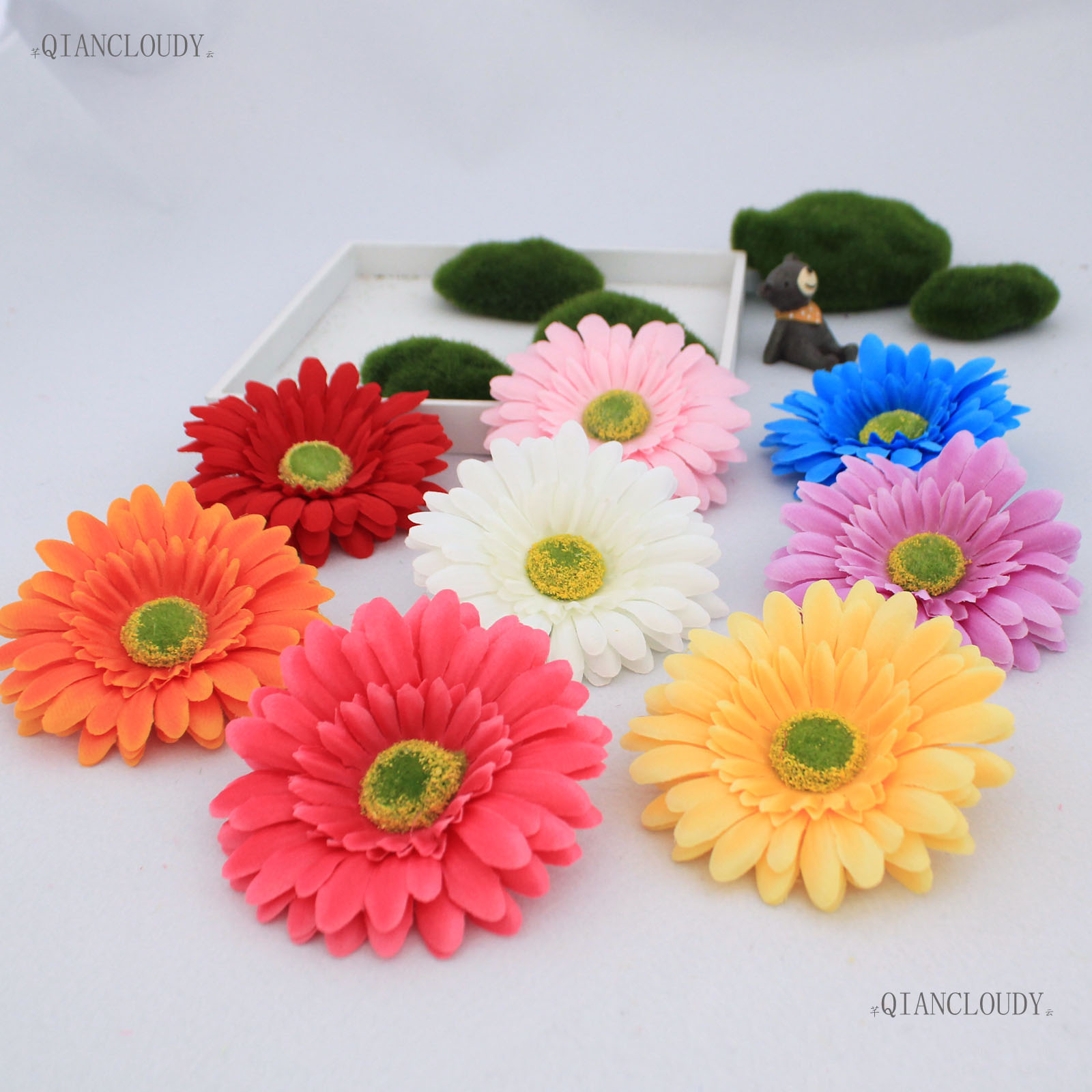 2 pieces artificial african daisy sunflower silk flower heads for 2 pieces artificial african daisy sunflower silk flower heads for wedding decoration diy fleur scrapbooking hair clip a28 in artificial dried flowers from izmirmasajfo