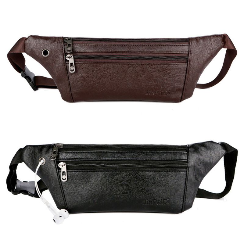 THINKTHENDO Fashion Men Leather Fanny Pack Belt Bum Waist Pouch Crossbody Shoulder Sport Zip Bag Waist Packs