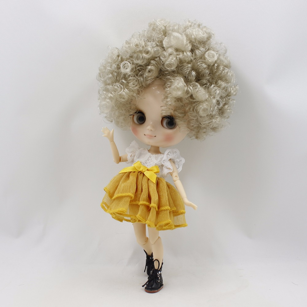Free shipping Nude Middie Doll joint body 1 8 silver gray Afro Hair QE3167 20cm
