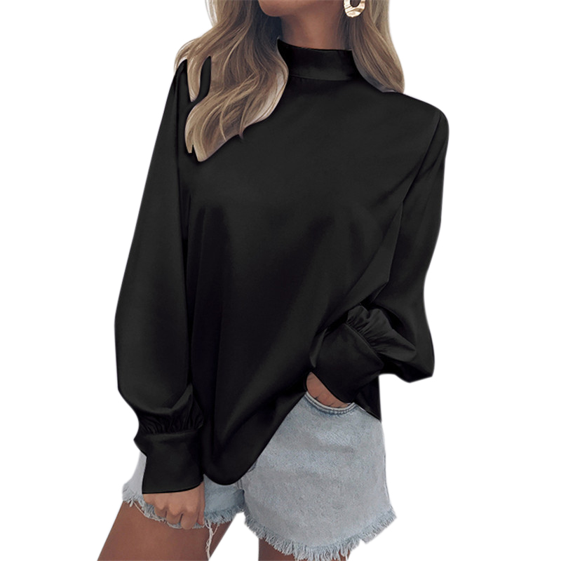 Women Stand Neck Long Sleeve Shirts 2018 Women Fashion Solid Chiffon Tops Sexy Casual Hot Sale Blouses  Vintage Oversize Loose