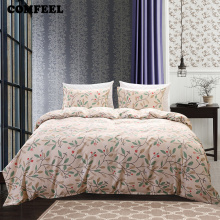 COMFEEL Cotton 2.2m Bed Queen Size Bedding Set 3pcs of Flower Print Bed Pillowcase and Quilt Cover Luxury Bedding Duvet Covers