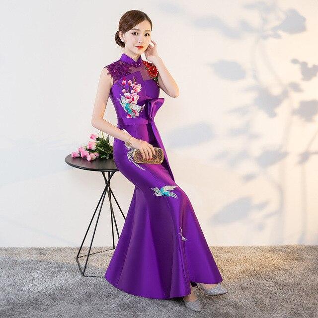 Purple Modern Cheongsam Sexy Qipao Women Long Traditional Chinese Dresses  Oriental Wedding Gowns Evening Dress Robe 062385800237