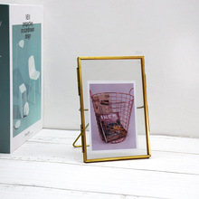 New three-dimensional metal glass photo frame set table creative desktop geometric picture frame10.5*15.5cm