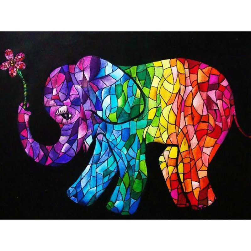 "5D DIY Diamond Painting Full Square/Round Drill "" Stained Glass Elephant "" 3D Diamond Embroidery Cross Stitch Mosaic Rhinestone"