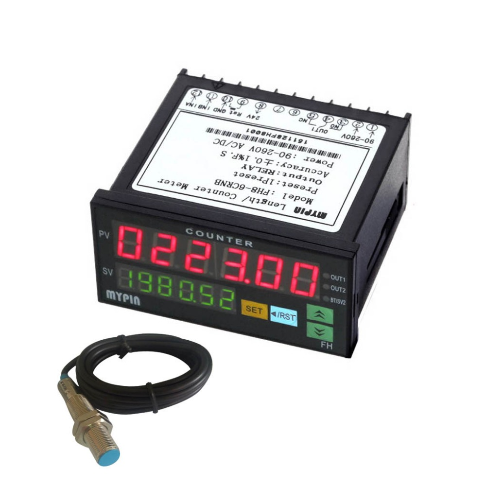 FH8-6CRNB 6 Digital Counter with Proximity Switch Sensor NPN Mini Electronic Length Batch Meter seismic design of electronic counter punch rotating magnetic inductive proximity switches
