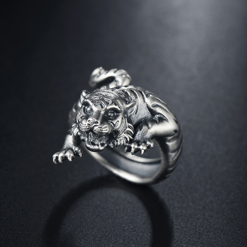 silver restoring ancient ways air tiger zodiac ring 999 fine silver personality domineering male money men silver ringsilver restoring ancient ways air tiger zodiac ring 999 fine silver personality domineering male money men silver ring