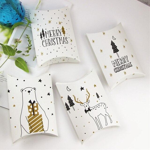 Caixas de Presente Dos Doces Do Natal Dos Cervos & Árvore de Natal alegre Convidados Favores Do Partido Caçoa o Presente Caixas de Embalagem Saco Do Presente de Natal Decoração travesseiro