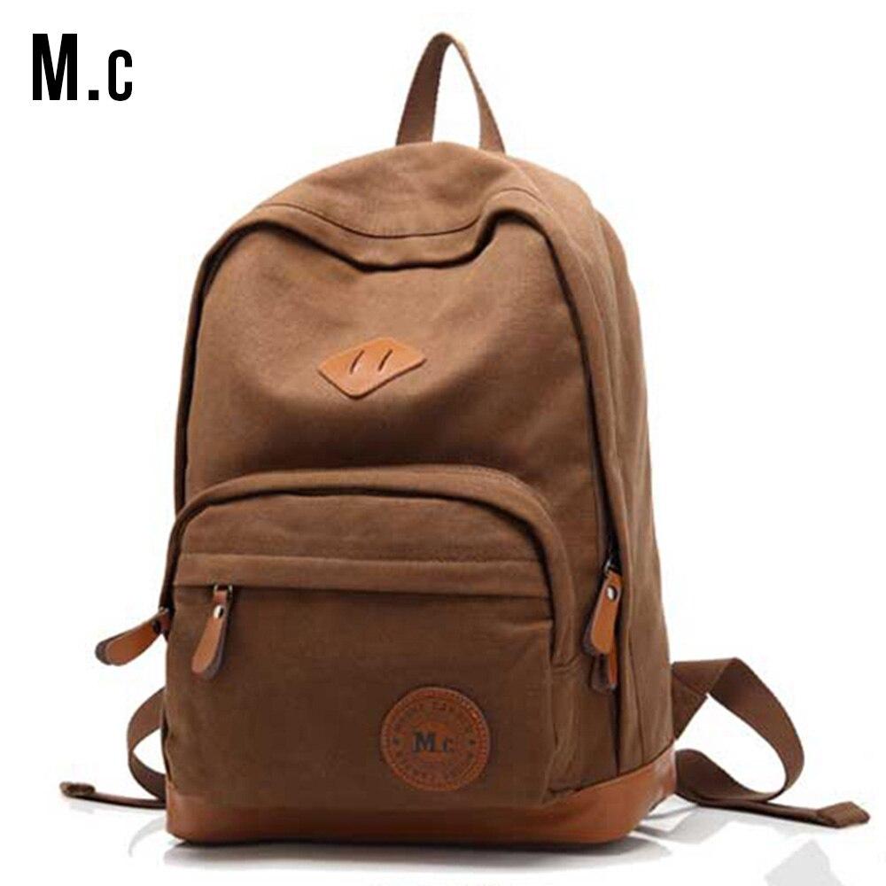 Unisex Vintage Men 39 S Canvas Backpacks Solid Fashion Backpacks Shoulder Bags Travel Backpack