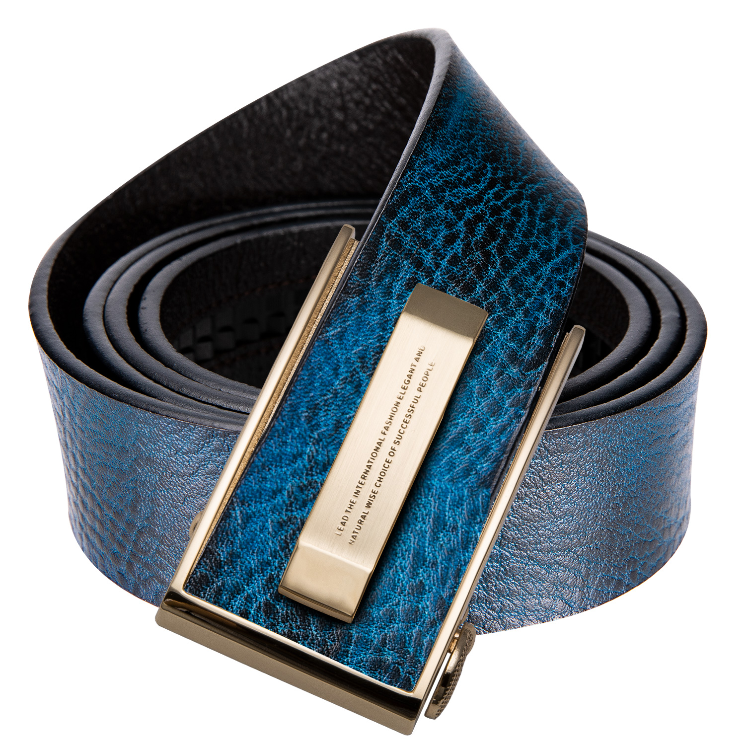 Hi-Tie Gold Buckle Blue Leather   Belt   for Jeans Fashion Wedding Cowskin Genuine Leather Strap Automatic Buckle Casual Style