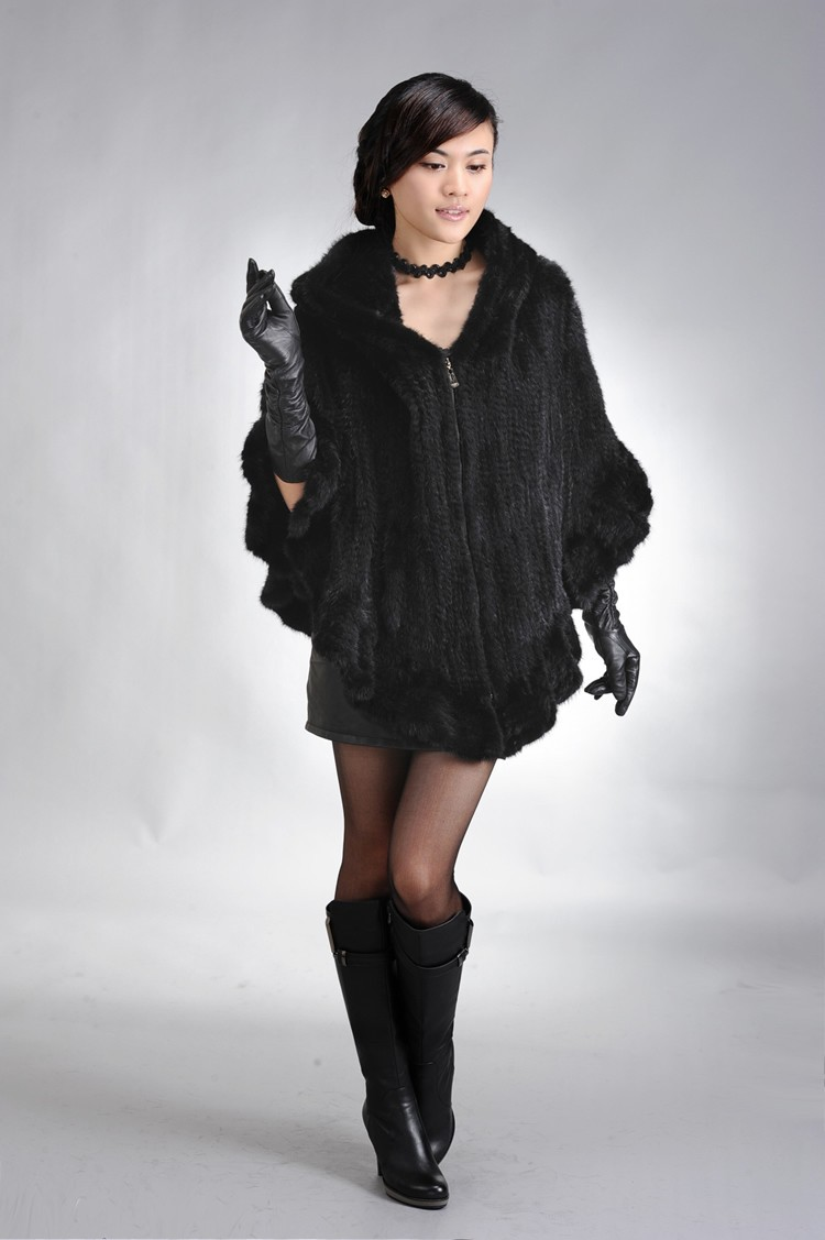 Factory Direct Genuine Mink Fur Shawl Women Natural Mink Fur Poncho With Hood Winter Knitted Mink Fur Jacket DL6191 (5)