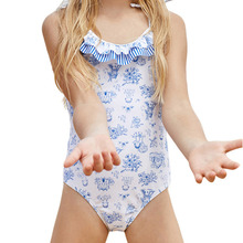 Girls One Piece Swim Suit Baby Lovely Print Triangle Conjoined Swimwear Children Kids Bathing Suits For Girls Swimsuits 4-8Years