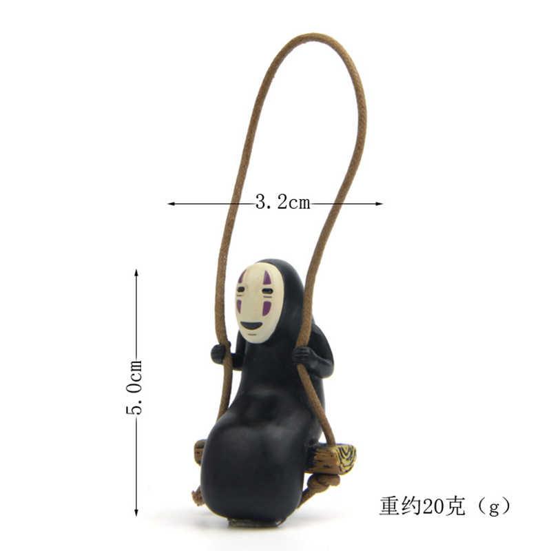2 pcs 미야자키 하야오 치히로 떨어져 소녀 얼굴 없음 남자 액션 피규어 장난감 지브리 일본 애니메이션 만화 마이크로 풍경 카와이 선물