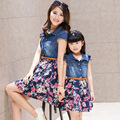 2016 summer style family look matching mother daughter dresses clothes mom and daughter dress girls jean dress flower clothing
