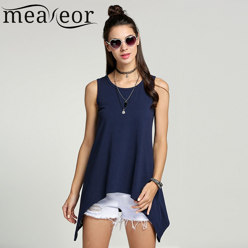 Meaneor Women Casual Personalized   Tops   Famale O-Neck Vest women Sleeveless T-shirt Irregular Hem Long   Tank     Tops   Plus size S-XXL