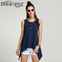 Meaneor Women Casual Personalized Tops Famale O-Neck Vest women Sleeveless T-shirt Irregular Hem Long Tank Tops Plus size S-XXL