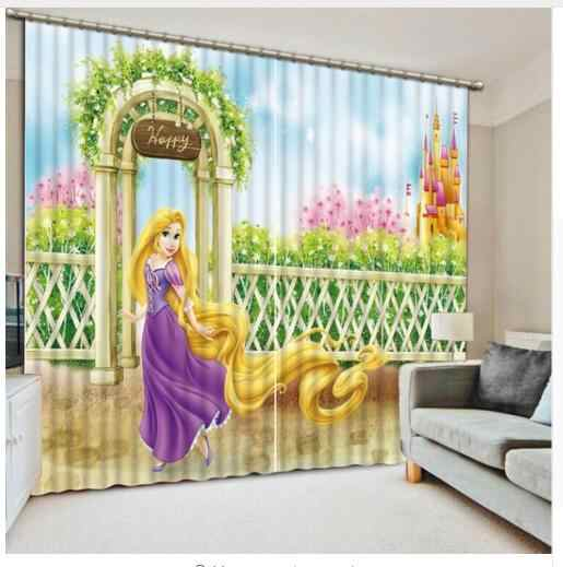 Cartoon Princess 3D Window Curtains Blackout living room wedding bedroom decorate Cortinas Drapes Rideaux Customized pillowcase