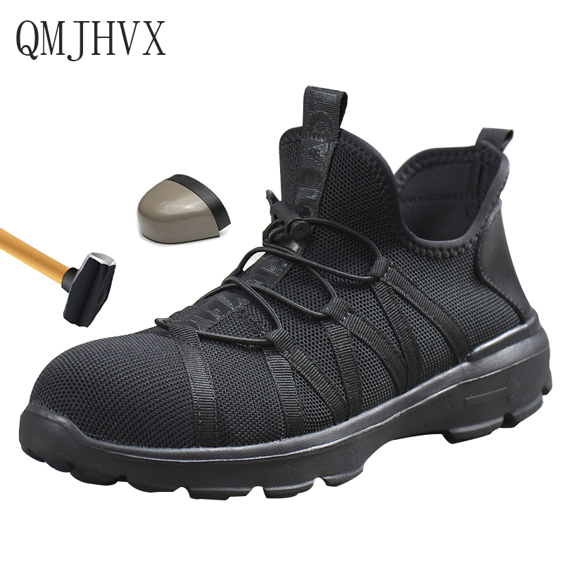 Flying Woven labor insurance Shoes lightweight Breathable electrical insulation Men With Steel Toe cap Work Safety Boots
