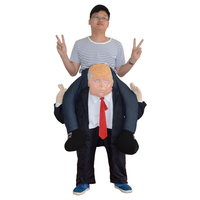 Funny Costume Ride on DT Donald Trump Carry Back Dress Up Pants With False Human Legs Halloween Party Fancy Costumes Cosplay