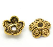 Doreen Box Lovely 100 golden tone Flower Bead Caps 10x4mm (B15403)