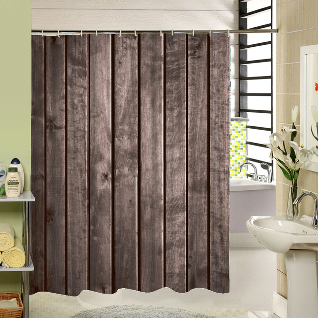 Polyester Shower Curtain Old Bronze Wooden Garage Door Vintage Rustic American Country Style Bathroom