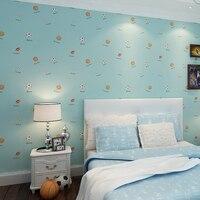 Karikatür komik çocuk odası yeşil dokunmamış duvar kağıtları çocuk TV arka yatak odası mavi pirinç beyaz çizgili spor futbol duvar kağıdı