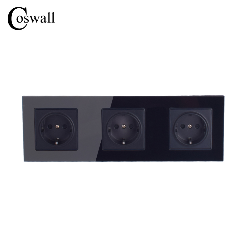 coswall-wall-crystal-glass-panel-3-way-power-socket-grounded-16a-eu-standard-black-electrical-triple-outlet-258mm-86mm