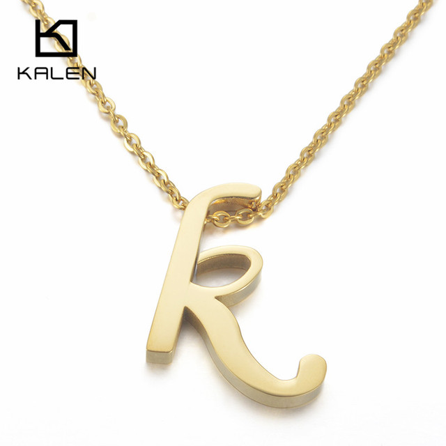 Kalen Cheap Capital Letter K Pendant Necklaces For Men & Women Stainless  Steel Gold Color Thick Letter K Necklace Unisex Jewelry