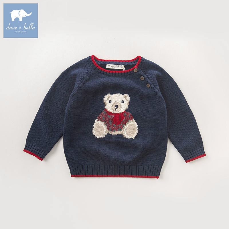 DB5905 dave bella autumn infant baby boys navy bear pullover sweater kids lovely clothes toddler children knitted Sweater db4916 dave bella spring fall baby girls navy striped sweater boys navy star embroidery sweaters stylish sweater