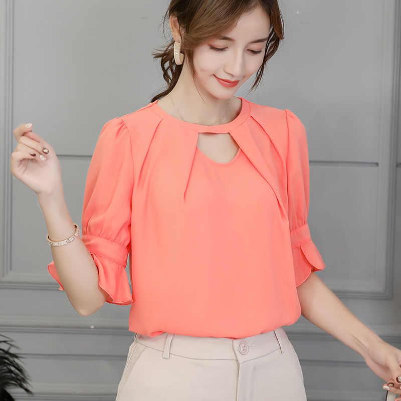 ใหม่ผู้หญิง 2019 เสื้อฤดูใบไม้ผลิเกาหลีฤดูร้อนแฟชั่นสีชมพูเสื้อผู้หญิงสีขาวฟ้าเสื้อแขนสั้น Blusas ผ้าเสื้อ