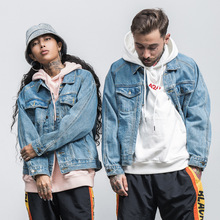 2017 New Men Casual Denim Couple Jacket Street Wear Fashion Autumn Outwear Hip Hop Hole Printed Slim Jean Long Sleeve Male Coat