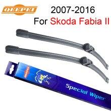 QEEPEI Front Wiper Blades For Skoda Fabia II 2007 2008 2009 2010 2011 2012 2013 2014 2015 2016 Silicone Rubber Windshield Wiper