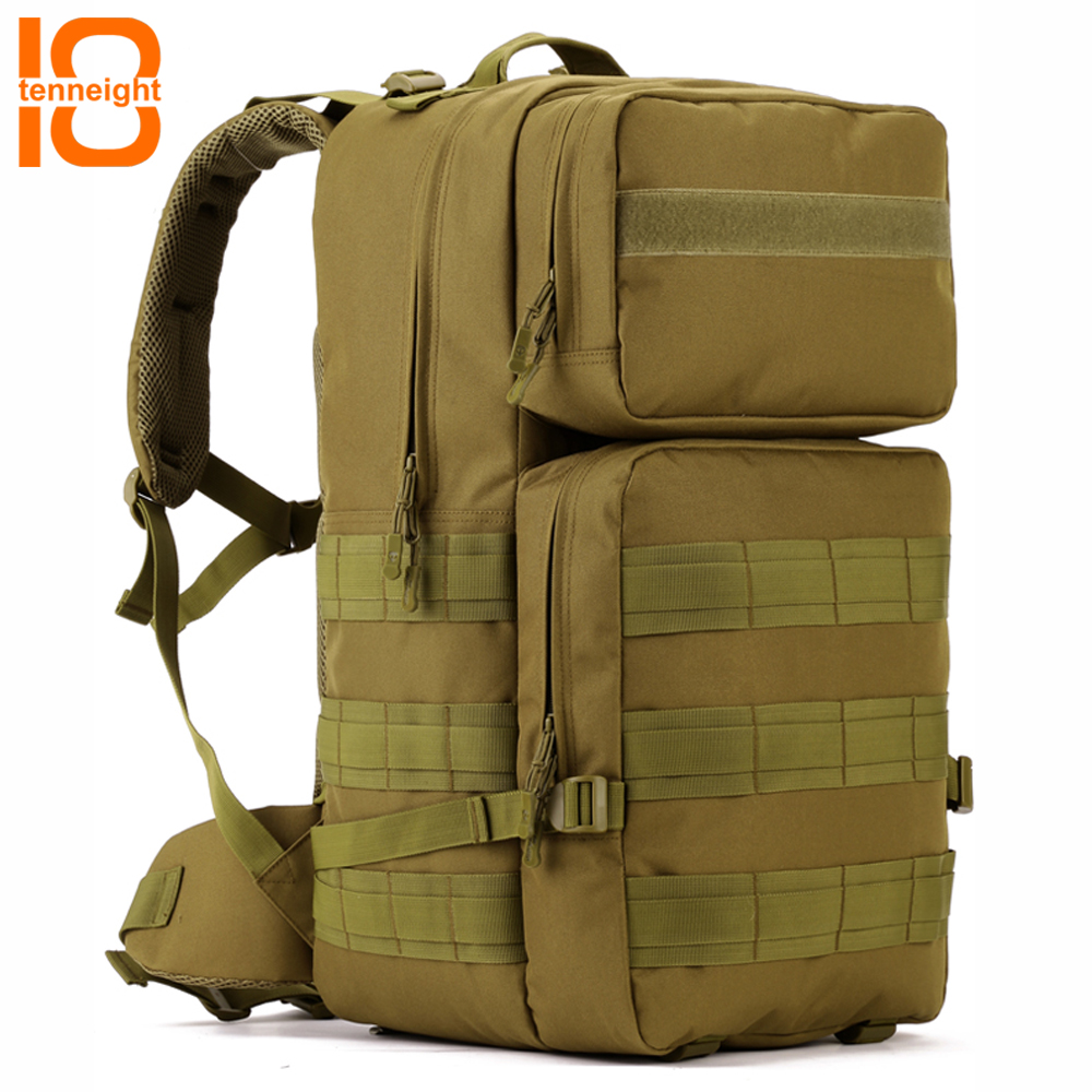 TENNEIGHT 55L Military Tactical backpack nylon Waterproof sports Hiking Camping backpack 17 Inch laptop bag travel Rucksack sinairsoft 14 inch laptop tactical molle military backpack 800d nylon sports bag camping hiking waterproof men travel backpack