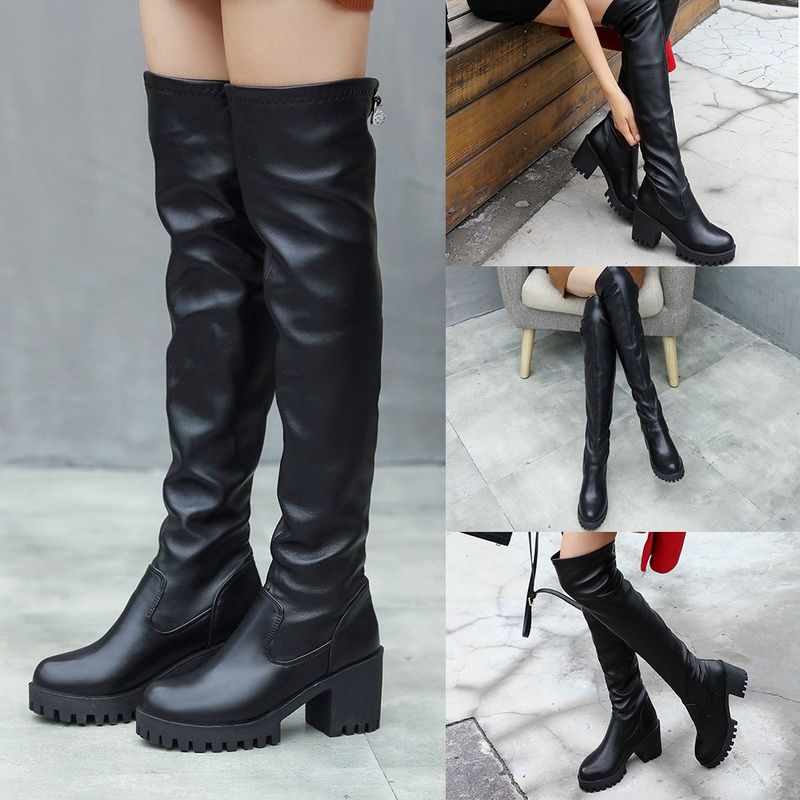 cc0e089cf5f Du Boot Haute Casual Bottes Femelle Dessus Éclair Noir Femmes Chaussures  Épaissir Genou Cuisse Moteur Chaud ...
