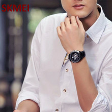 Skmei Time Date Zinc Alloy Leather Calendar watch Men s fashion 30M Waterproof Watch