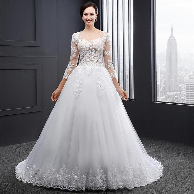 In Stock Three Quater Elegant Skin Back Appliques Bridal Gown With