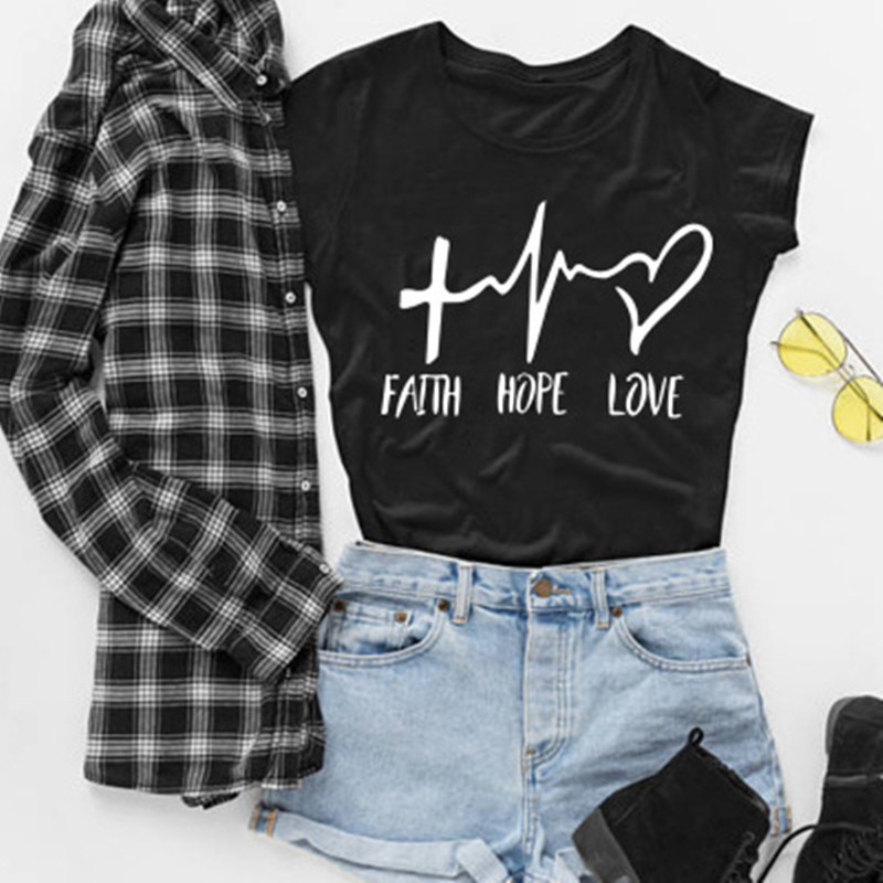 2019 New Fashion Shirts Fashion Faith Hope Love Letters Print Tops Tshirt Funny Christianity God Tee Gift