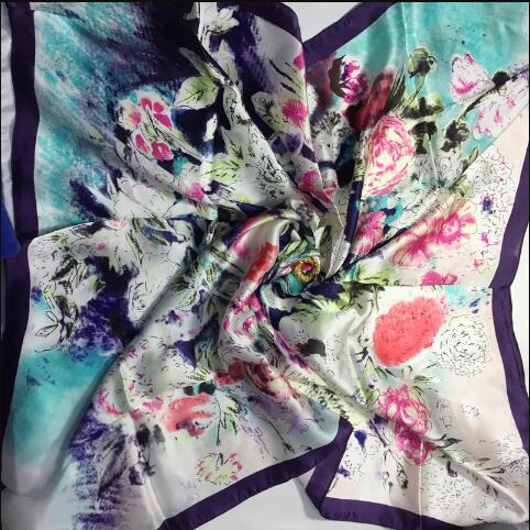 Real silk women summer square geometric print scarf