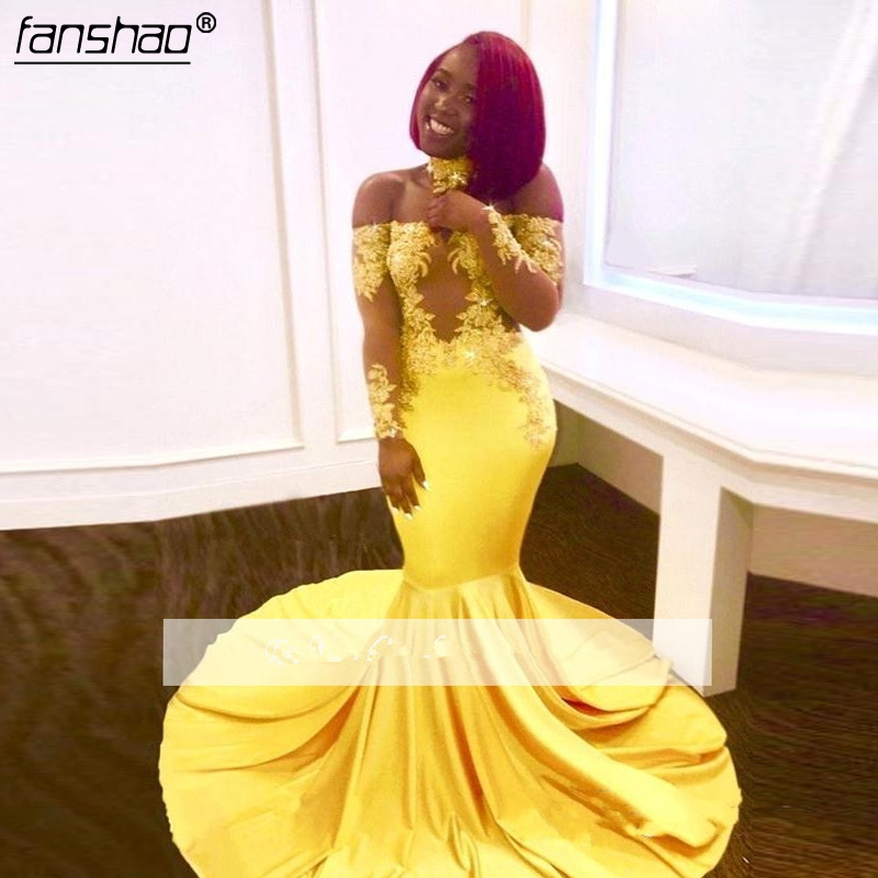 Yellow 2019 Prom Dresses Mermaid Off The Shoulder Long Sleeves Appliques See Through Party Maxys Long Prom Gown Evening Dresses-
