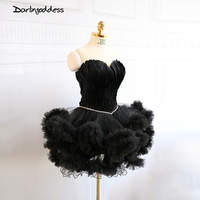 Real Photo White Cocktail Dresses Feather Women New Arrival 2017 Mini Black Sexy Short Party Prom
